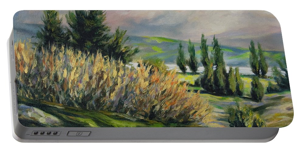 Trees Portable Battery Charger featuring the painting Valleyo by Rick Nederlof