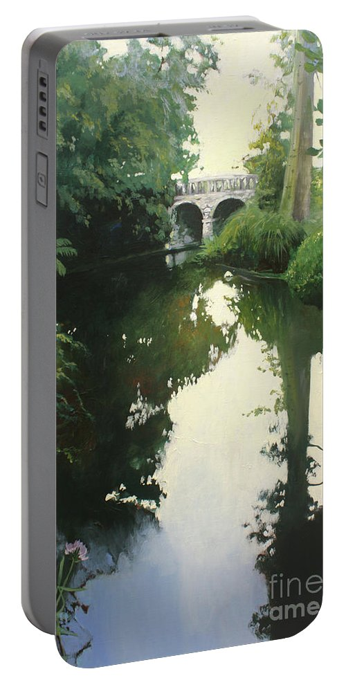 Lin Petershagen Portable Battery Charger featuring the painting Valrose Campus by Lin Petershagen