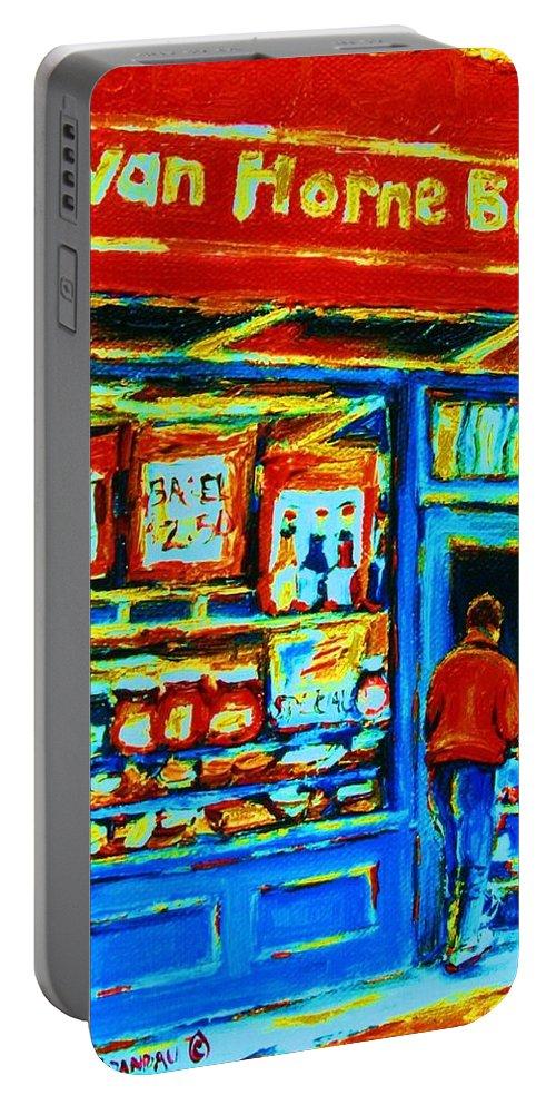 Van Horne Bagel Portable Battery Charger featuring the painting Van Horne Bagel by Carole Spandau