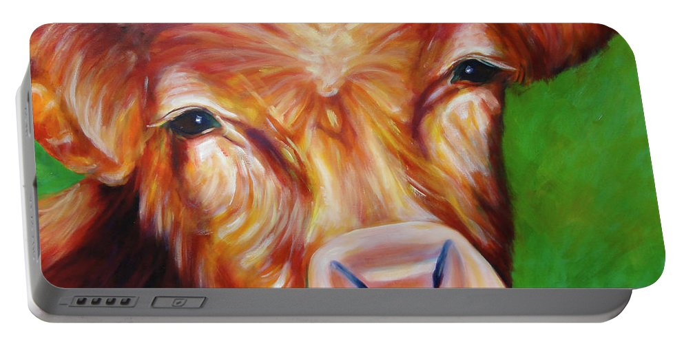 Bull Portable Battery Charger featuring the painting Van by Shannon Grissom