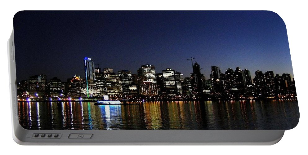 Night Scape Portable Battery Charger featuring the photograph Vancouver Night Lights by Will Borden