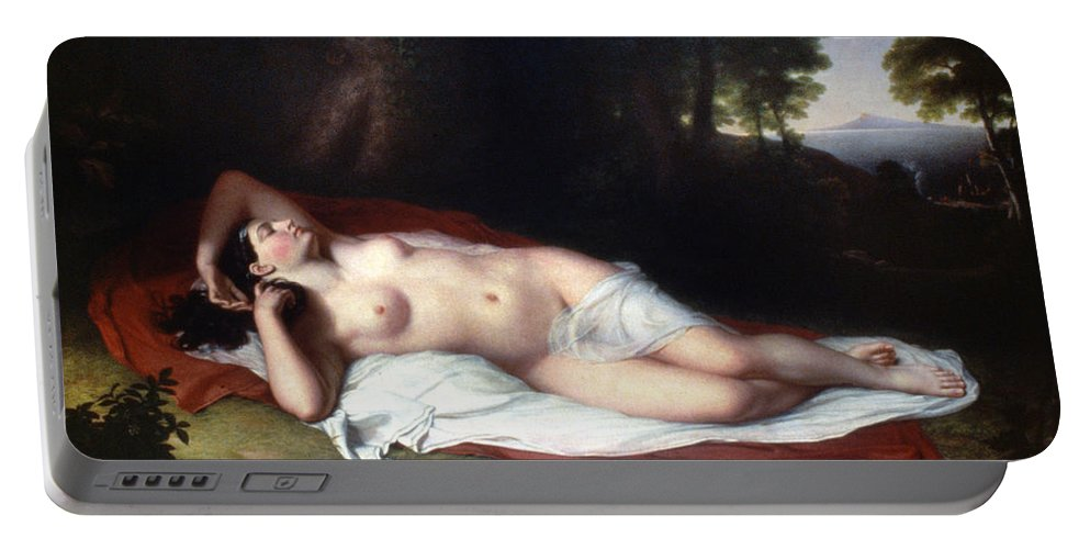 1814 Portable Battery Charger featuring the painting Vanderlyn: Ariadne Asleep by Granger