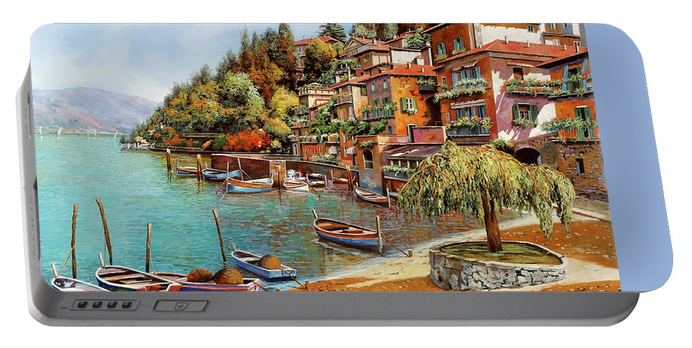Lake Como Portable Battery Charger featuring the painting Varenna On Lake Como by Guido Borelli