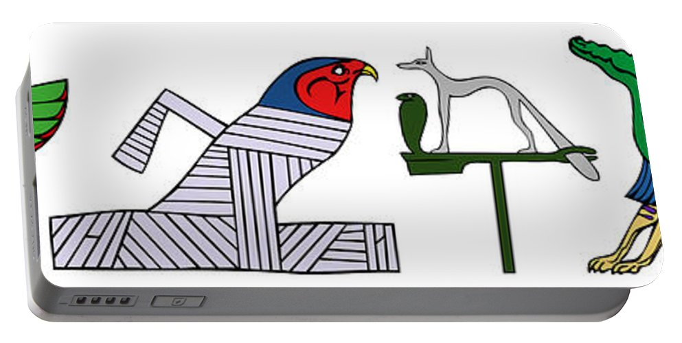 Demon Portable Battery Charger featuring the digital art various demons of ancient Egypt by Michal Boubin