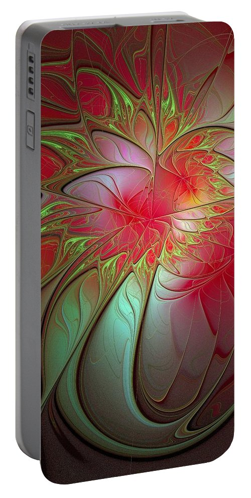 Digital Art Portable Battery Charger featuring the digital art Vase Of Flowers by Amanda Moore