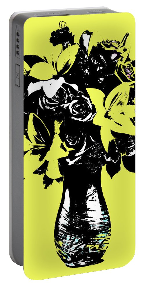 Pop Art Portable Battery Charger featuring the painting Vase Of Flowers by Rob Prince