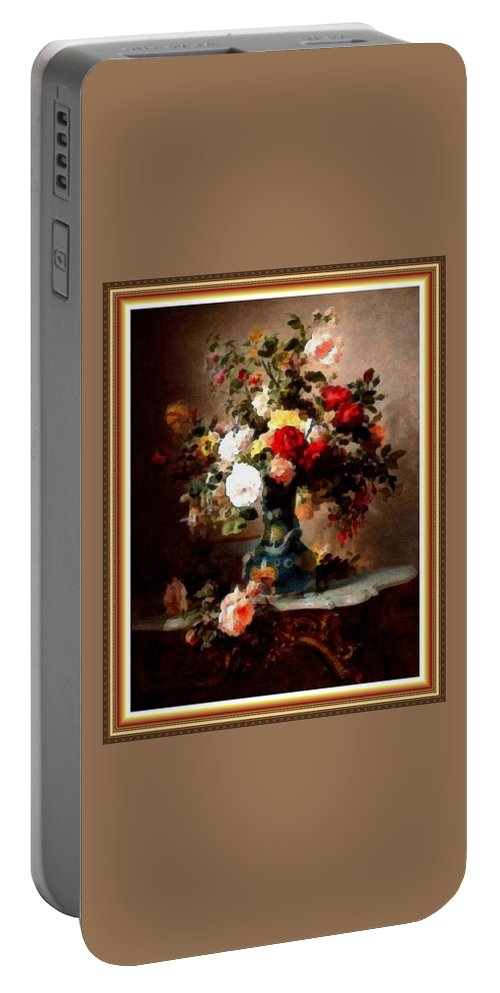 Vase Portable Battery Charger featuring the painting Vase With Roses And Other Flowers L B With Alt. Decorative Ornate Printed Frame. by Gert J Rheeders