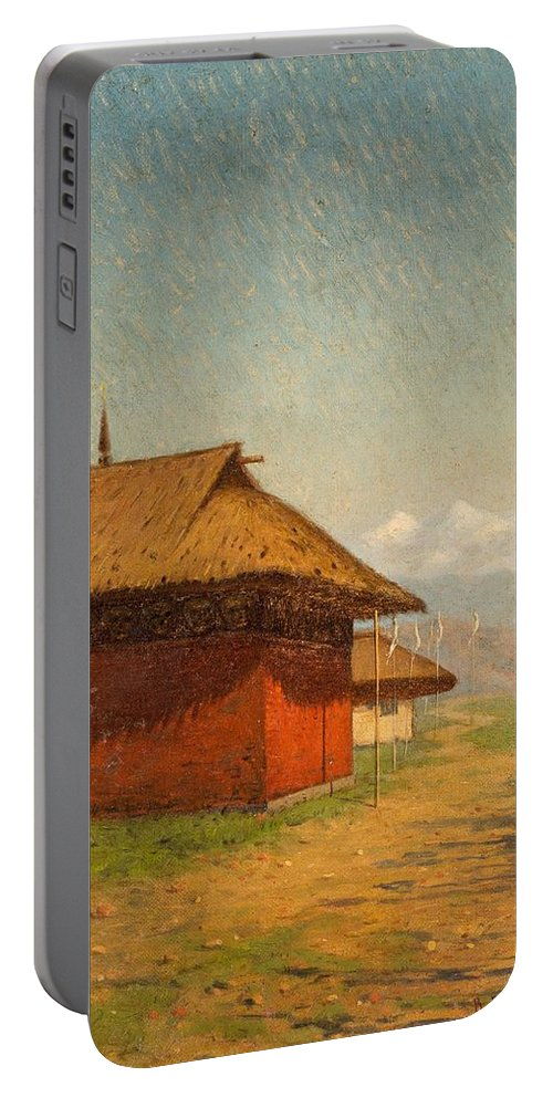Nature Portable Battery Charger featuring the painting Vasily Vasilievich Vereshchagin Russian 1842 1904 Nepalese Village by Artistic Panda