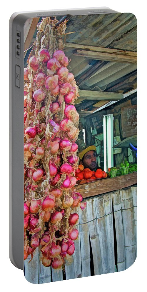 Cuba Portable Battery Charger featuring the photograph Vegetable Stand 2 by Claude LeTien