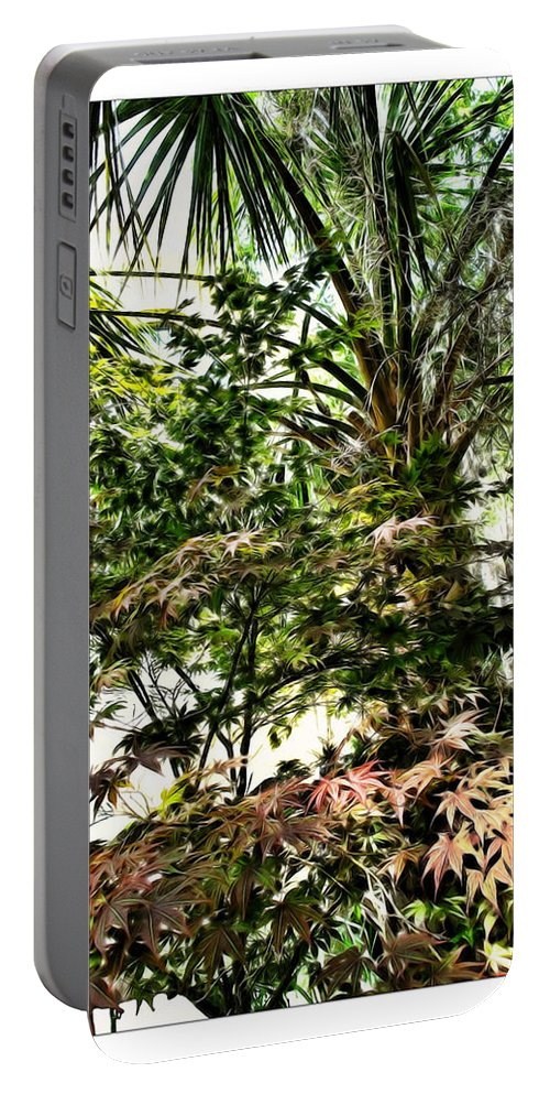 Charleston Portable Battery Charger featuring the digital art Vegetation Takeover by Joan Minchak