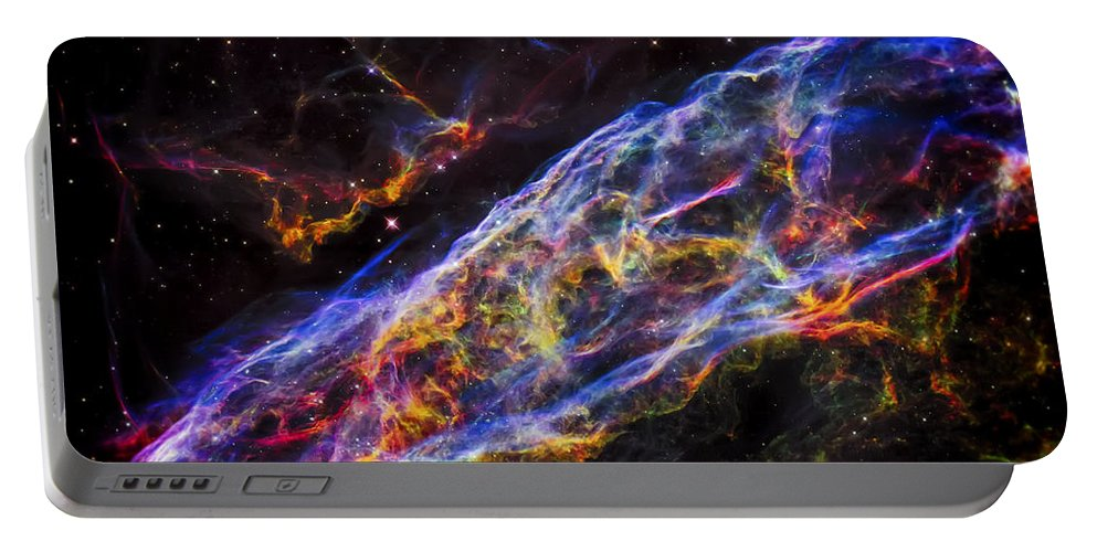 The Universe Portable Battery Charger featuring the photograph Veil Nebula - Rainbow Supernova by Jennifer Rondinelli Reilly - Fine Art Photography