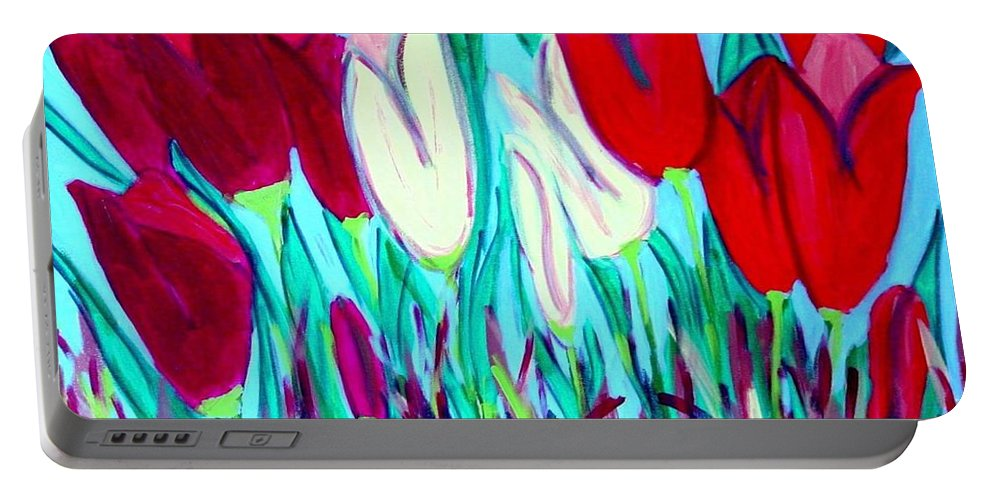 Tulips Portable Battery Charger featuring the painting Velvet Tulips by Laurie Morgan