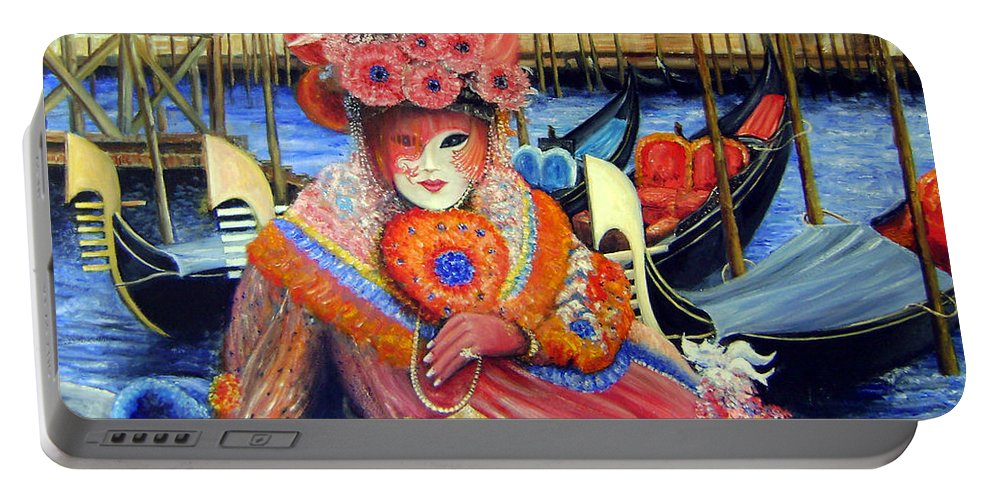Venice Portable Battery Charger featuring the painting Venetian Carneval Mask With Bird Cage by Leonardo Ruggieri