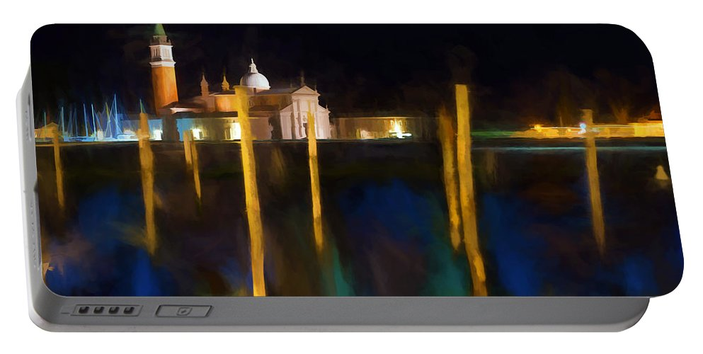 Venice Portable Battery Charger featuring the digital art Venetian Nights by Ronald Bolokofsky