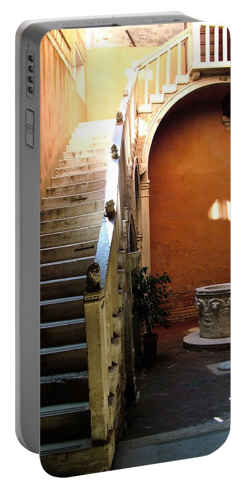 Architecture Portable Battery Charger featuring the photograph Venetian Stairway by Donna Corless