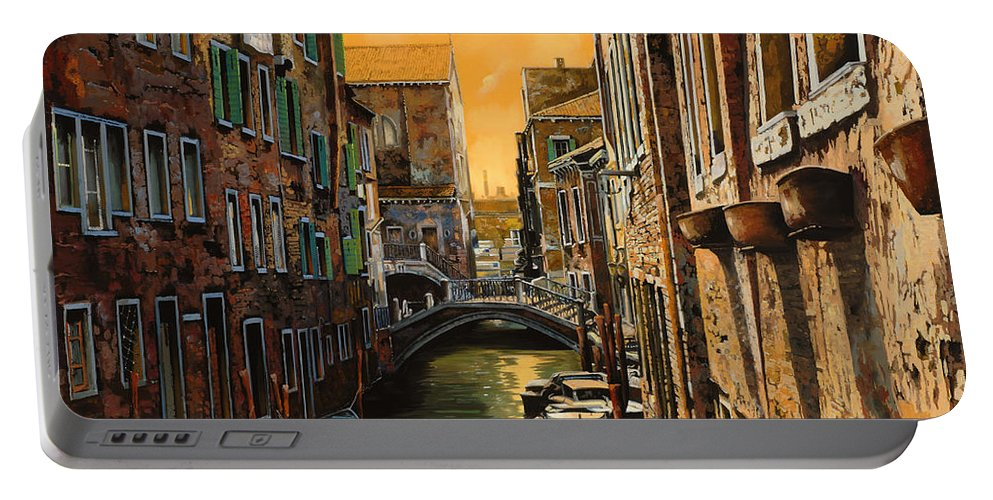 Venice Portable Battery Charger featuring the painting Venezia Al Tramonto by Guido Borelli