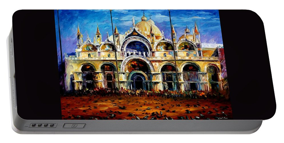 Afremov Portable Battery Charger featuring the painting Venice - Pigeons On San Marco Square by Leonid Afremov