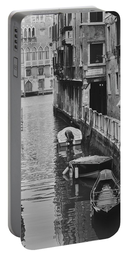 2011 Portable Battery Charger featuring the photograph Venice Docked Boats by Jovanni Casaus