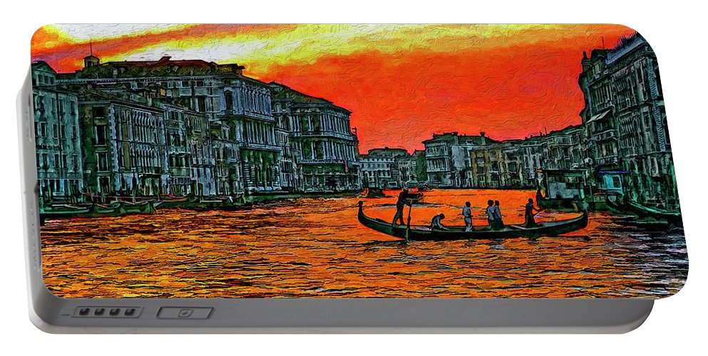 Venice Portable Battery Charger featuring the photograph Venice Eventide Impasto by Steve Harrington