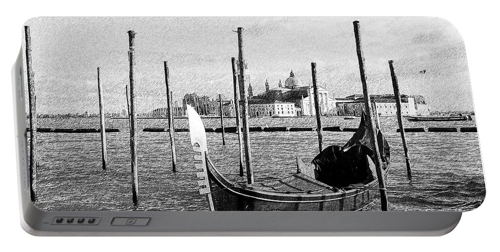 Gerlya Sunshine Portable Battery Charger featuring the photograph Venice. Gondola. Black And White. by Gerlya Sunshine