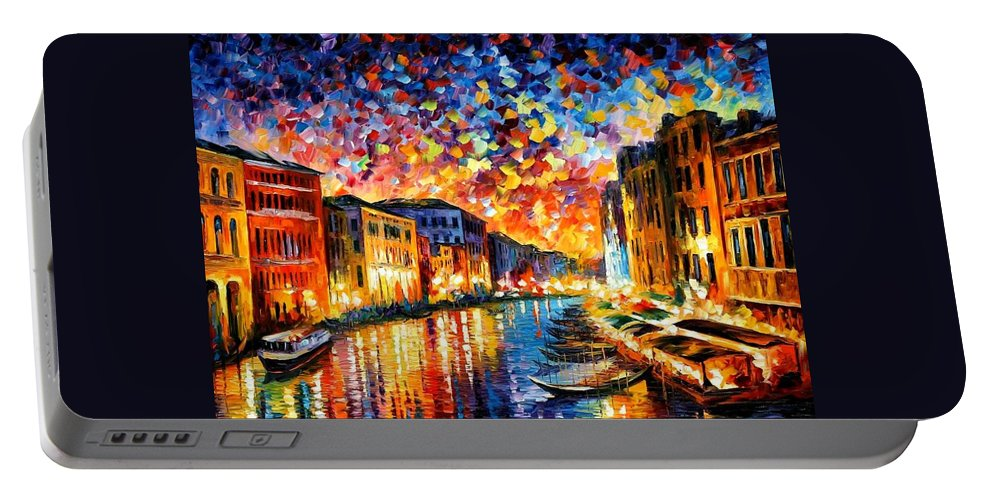 Afremov Portable Battery Charger featuring the painting Venice - Grand Canal by Leonid Afremov