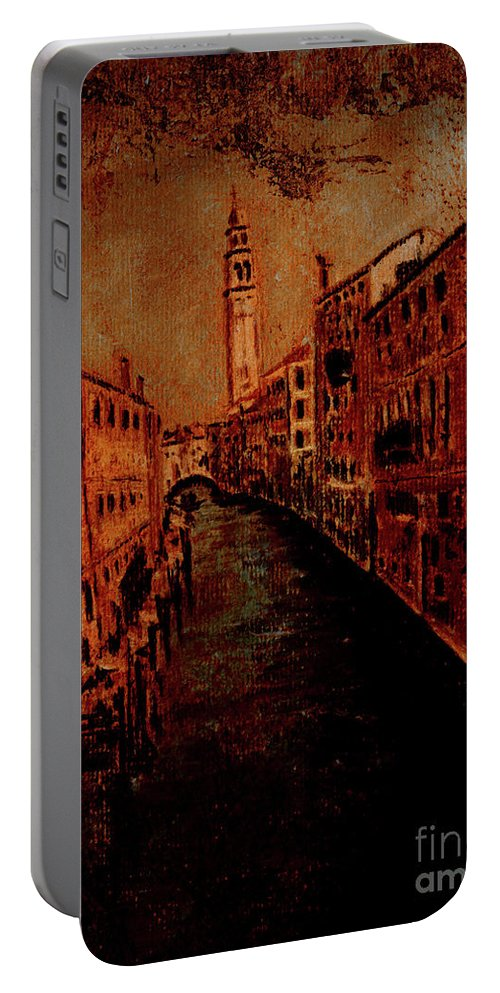 Venice Poster Portable Battery Charger featuring the painting Venice In Golden Sunlight by Callan Art