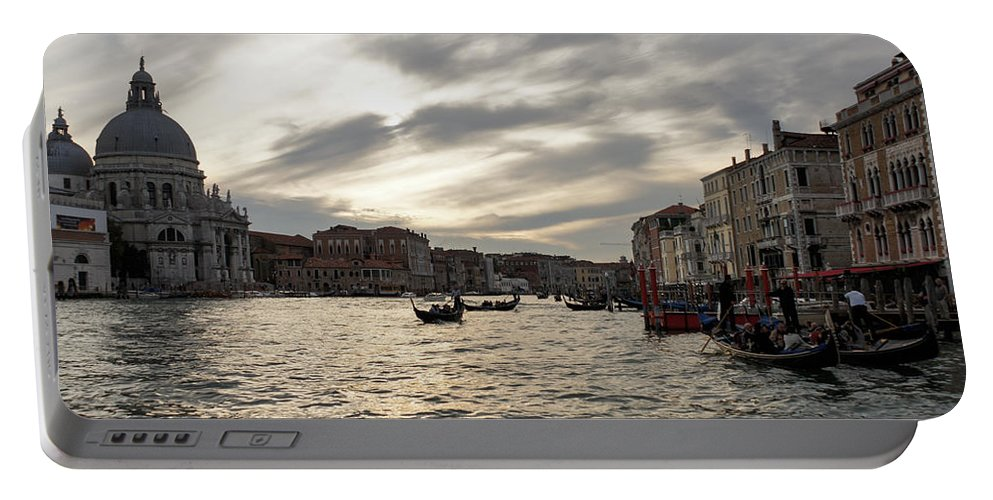 Georgia Mizuleva Portable Battery Charger featuring the photograph Venice Italy - Pearly Skies On The Grand Canal by Georgia Mizuleva