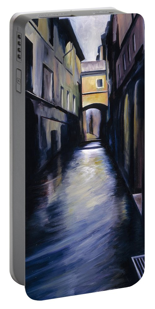 Street; Canal; Venice ; Desert; Abandoned; Delapidated; Lost; Highway; Route 66; Road; Vacancy; Run-down; Building; Old Signage; Nastalgia; Vintage; James Christopher Hill; Jameshillgallery.com; Foliage; Sky; Realism; Oils Portable Battery Charger featuring the painting Venice by James Christopher Hill