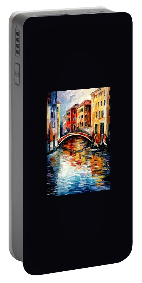 Landscape Portable Battery Charger featuring the painting Venice by Leonid Afremov