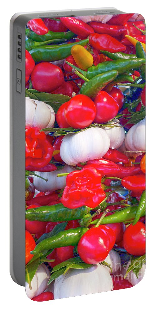 Pepper Portable Battery Charger featuring the photograph Venice Market Goodies by Heiko Koehrer-Wagner