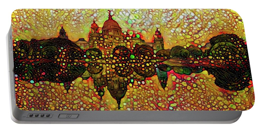 Venice Portable Battery Charger featuring the mixed media Venice Reflections by Lilia D