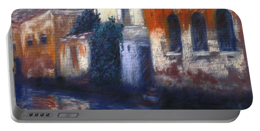 Venice Canals Old World Portable Battery Charger featuring the pastel Venice Reflections by Pat Snook
