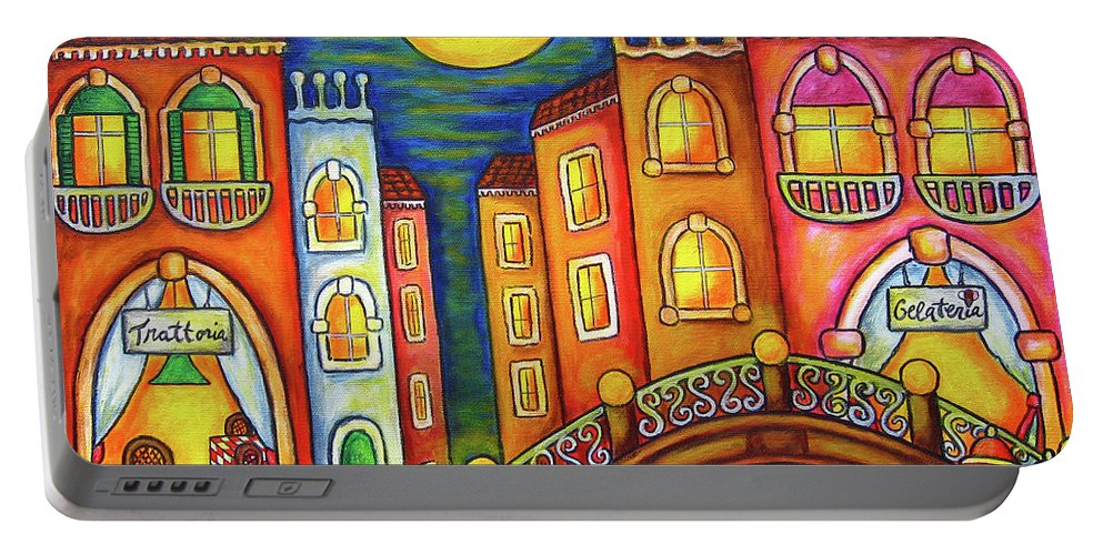 Colourful Portable Battery Charger featuring the painting Venice Soiree by Lisa Lorenz