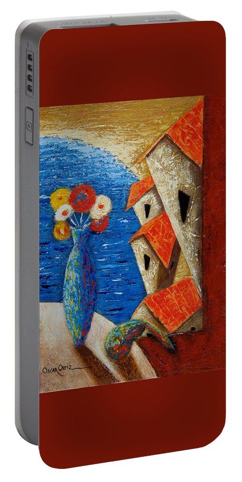 Landscape Portable Battery Charger featuring the painting Ventana Al Mar by Oscar Ortiz