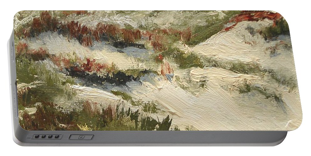Water Portable Battery Charger featuring the painting Ventura Dunes II by Barbara Andolsek