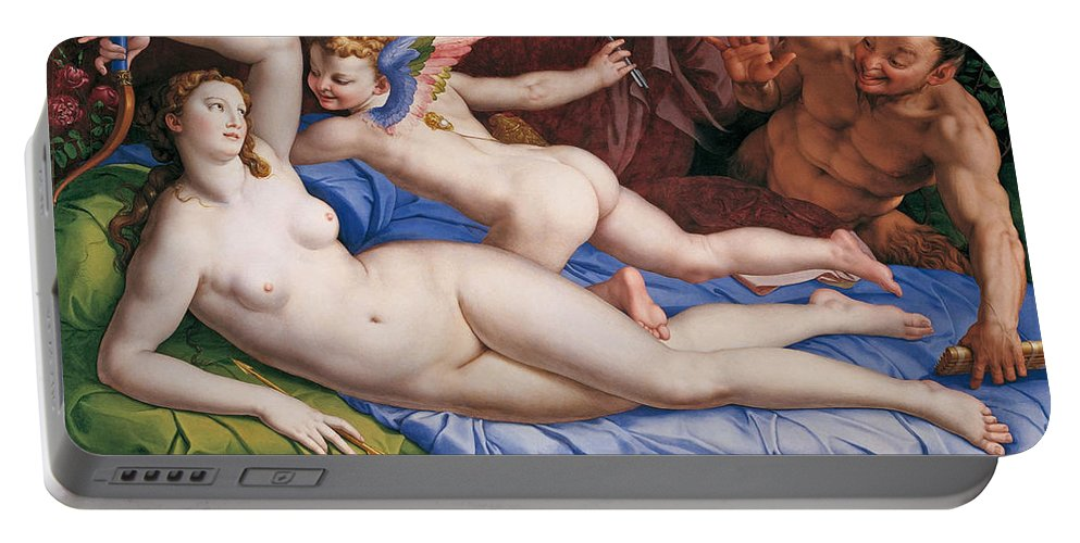 Bronzino Portable Battery Charger featuring the painting Venus, Cupid And A Satyr by Bronzino