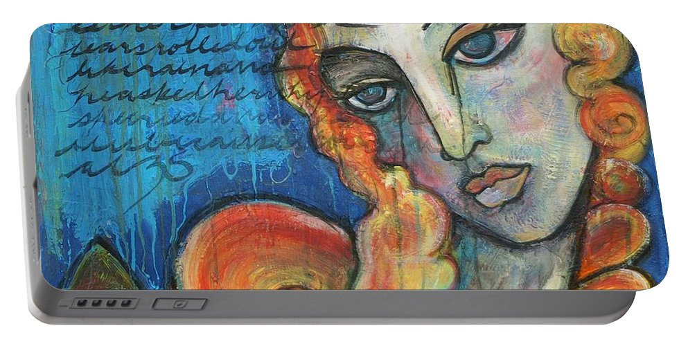 Venus Portable Battery Charger featuring the painting Venus Lets Go by Laurie Maves ART
