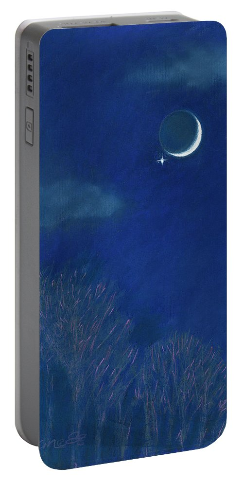 Moon And Venus Portable Battery Charger featuring the painting Venus Moon Conjunction by Maryanna Bock