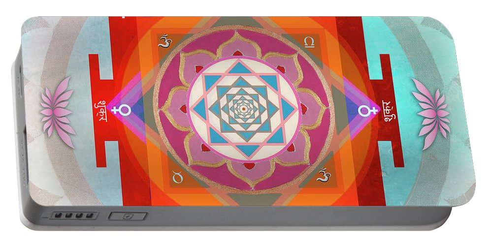 Venus Yantra Portable Battery Charger featuring the painting Venus Yantra by Sandra Petra Pintaric