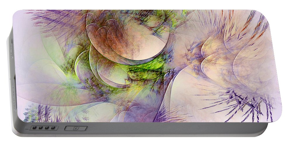 Abstract Portable Battery Charger featuring the digital art Venusian Microcosm by Casey Kotas