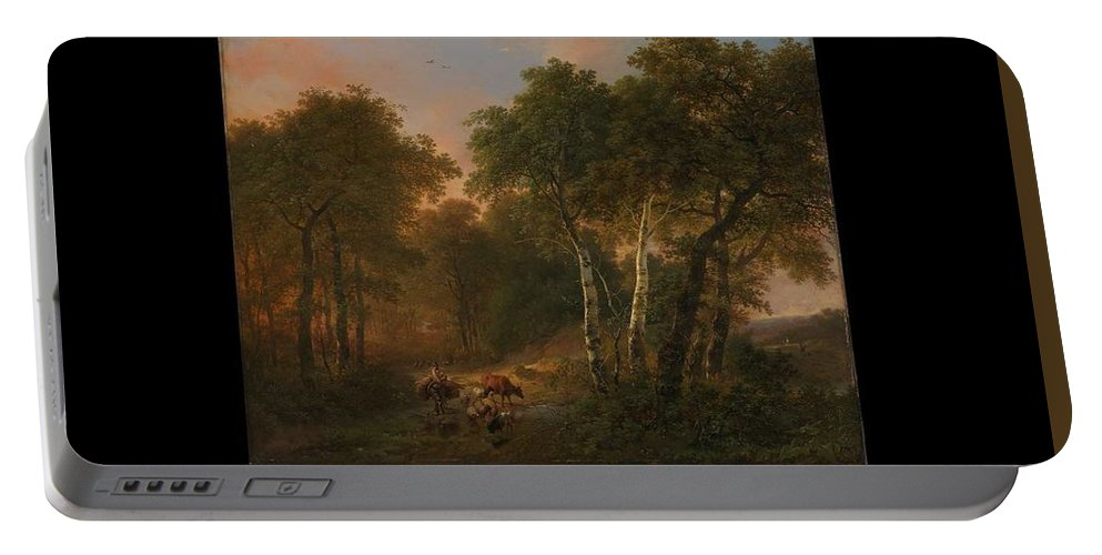 Nature Portable Battery Charger featuring the painting Verboeckhoven Eugene  Forest Landscape With Animals by Artistic Panda