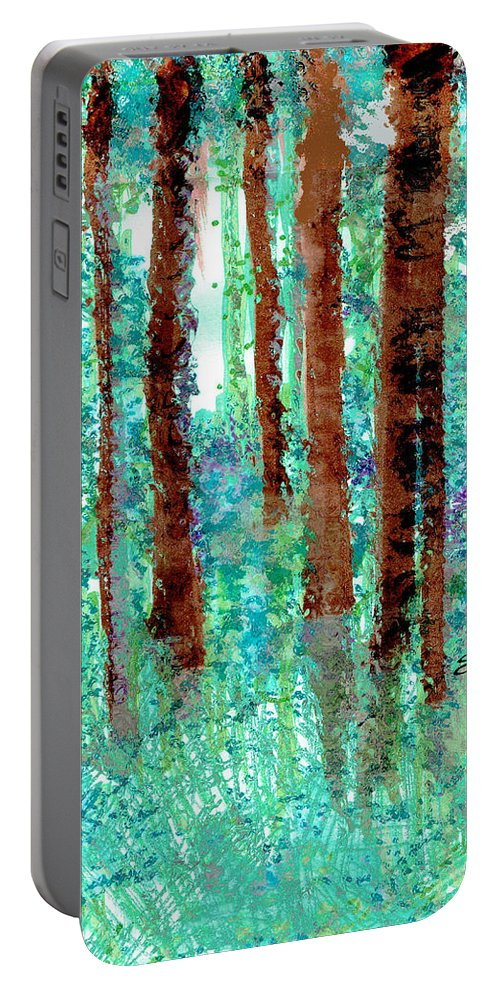 Verdant Vistas Portable Battery Charger featuring the drawing Verdant Vistas by Seth Weaver