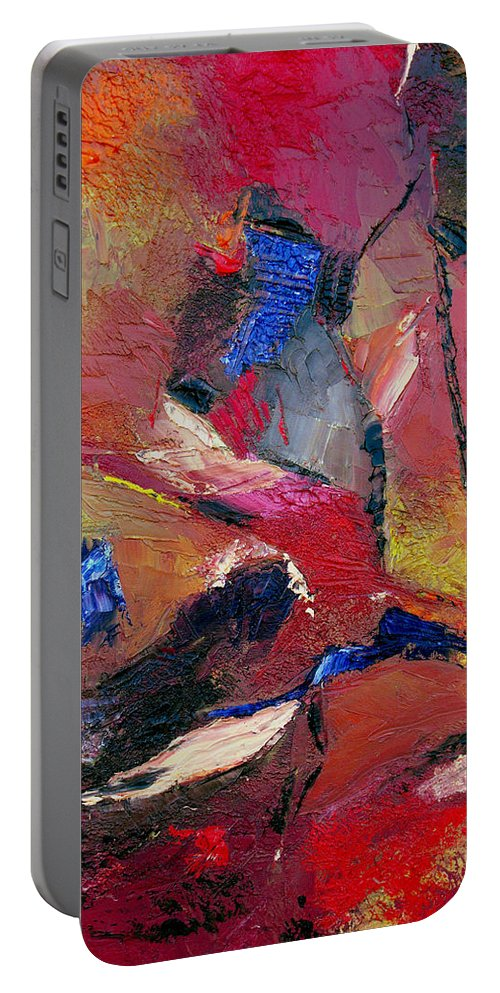Abstract Portable Battery Charger featuring the painting Verily Vivacious by Ruth Palmer