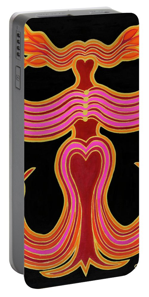 Phoenix Portable Battery Charger featuring the painting Vermilion Phoenix by Adamantini Feng shui