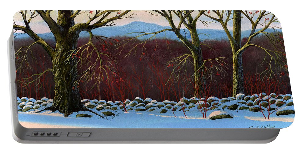 Landscape Portable Battery Charger featuring the painting Vermont Stone Wall by Frank Wilson