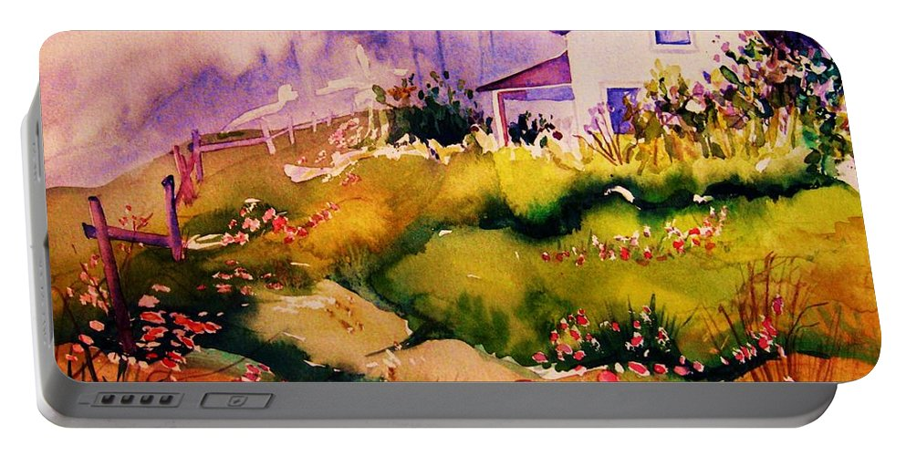 Cottagescenes Portable Battery Charger featuring the painting Vermont Summers by Carole Spandau