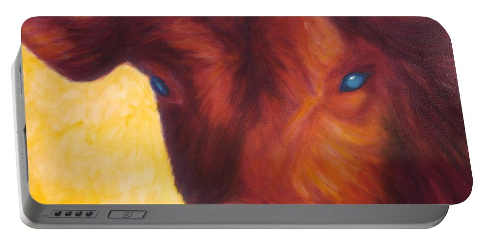 Bull Portable Battery Charger featuring the painting Vern by Shannon Grissom