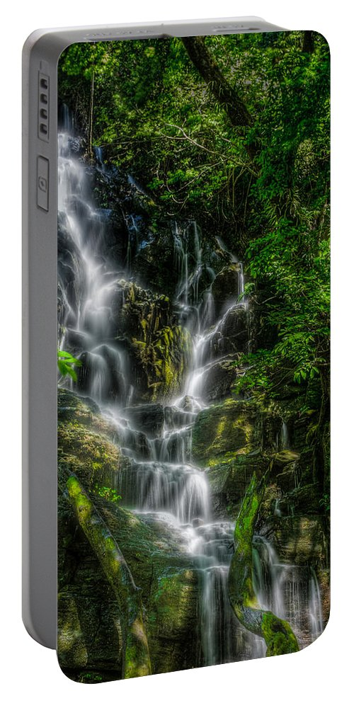 Flowing Portable Battery Charger featuring the photograph Vernal Fall At Rincon De La Veija by Rikk Flohr