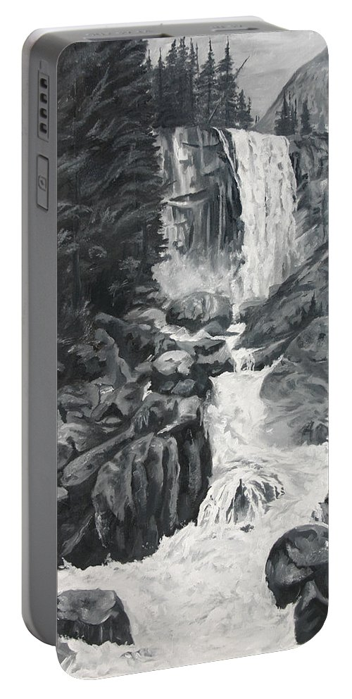 Landscape Portable Battery Charger featuring the painting Vernal Falls Black And White by Travis Day
