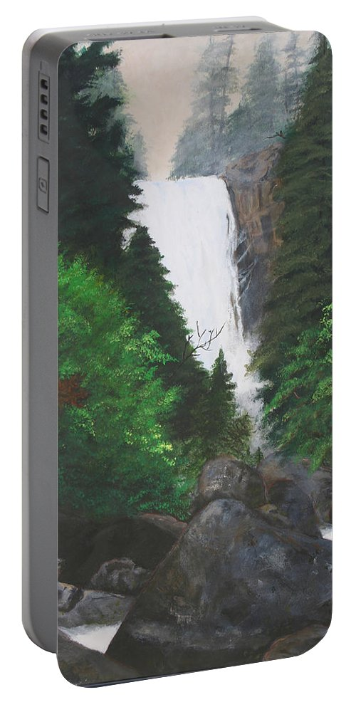 Landscape Portable Battery Charger featuring the painting Vernal Falls by Travis Day